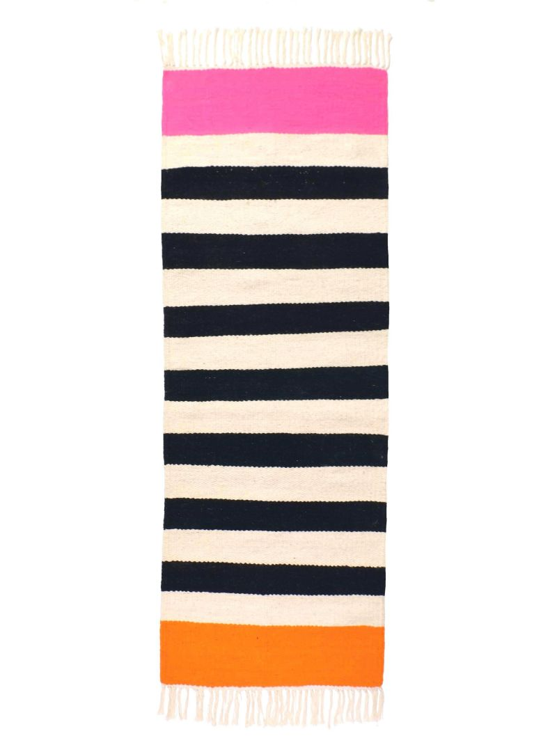 black and white striped runner rug