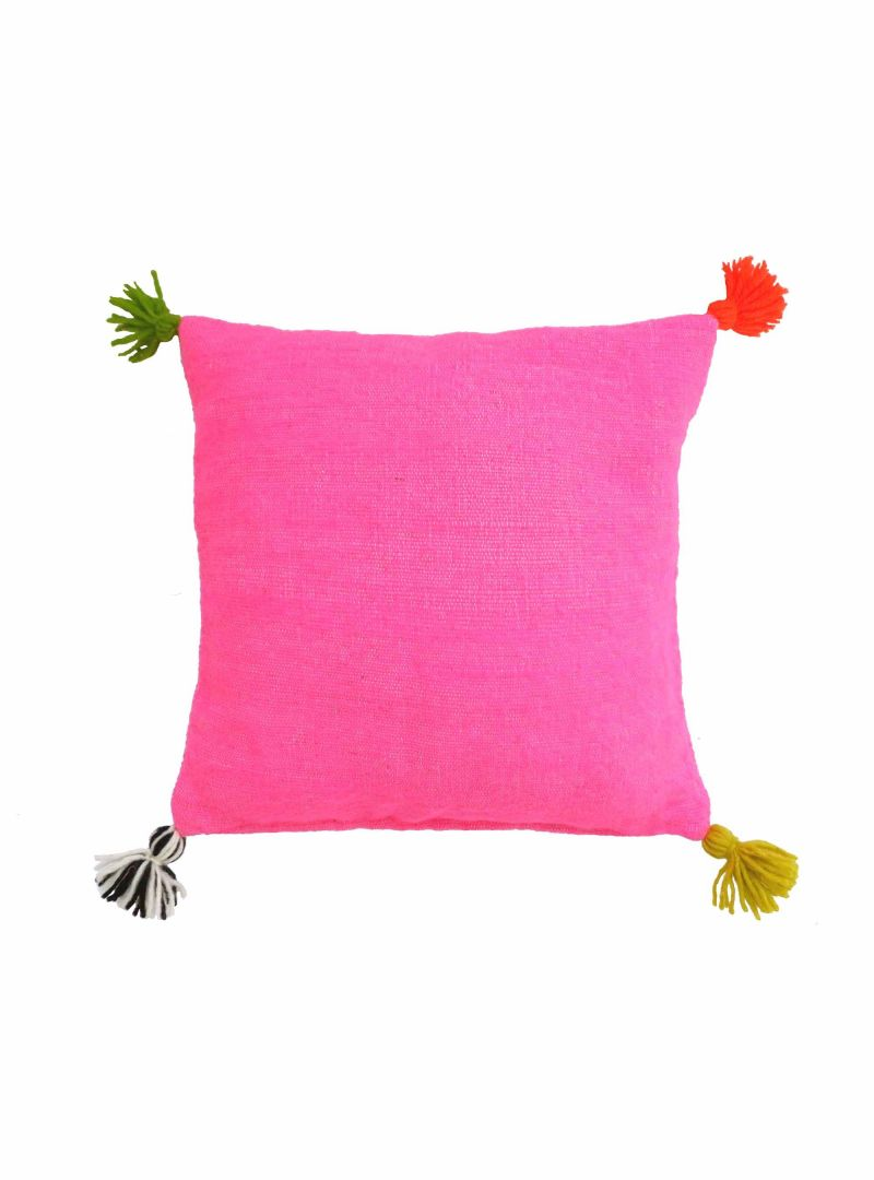 pink cushion cover with tassels