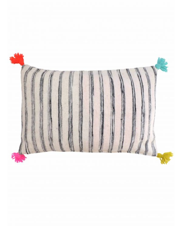 black and white striped cushion cover