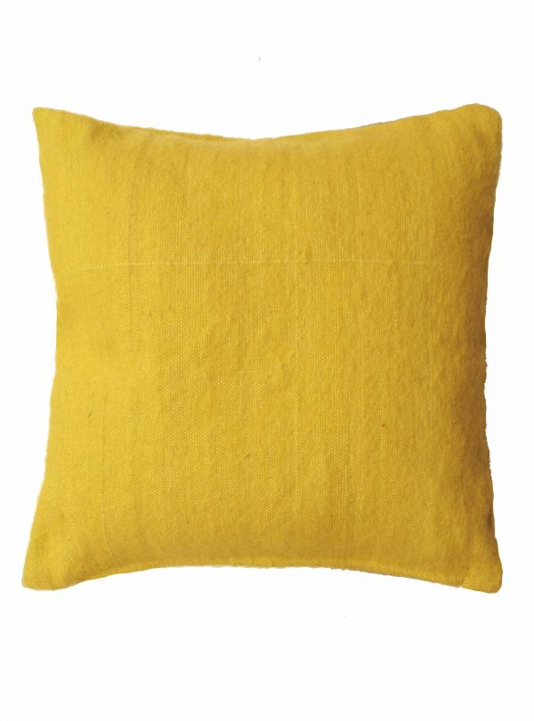 Handwoven yellow cushion cover, 50x50 cm