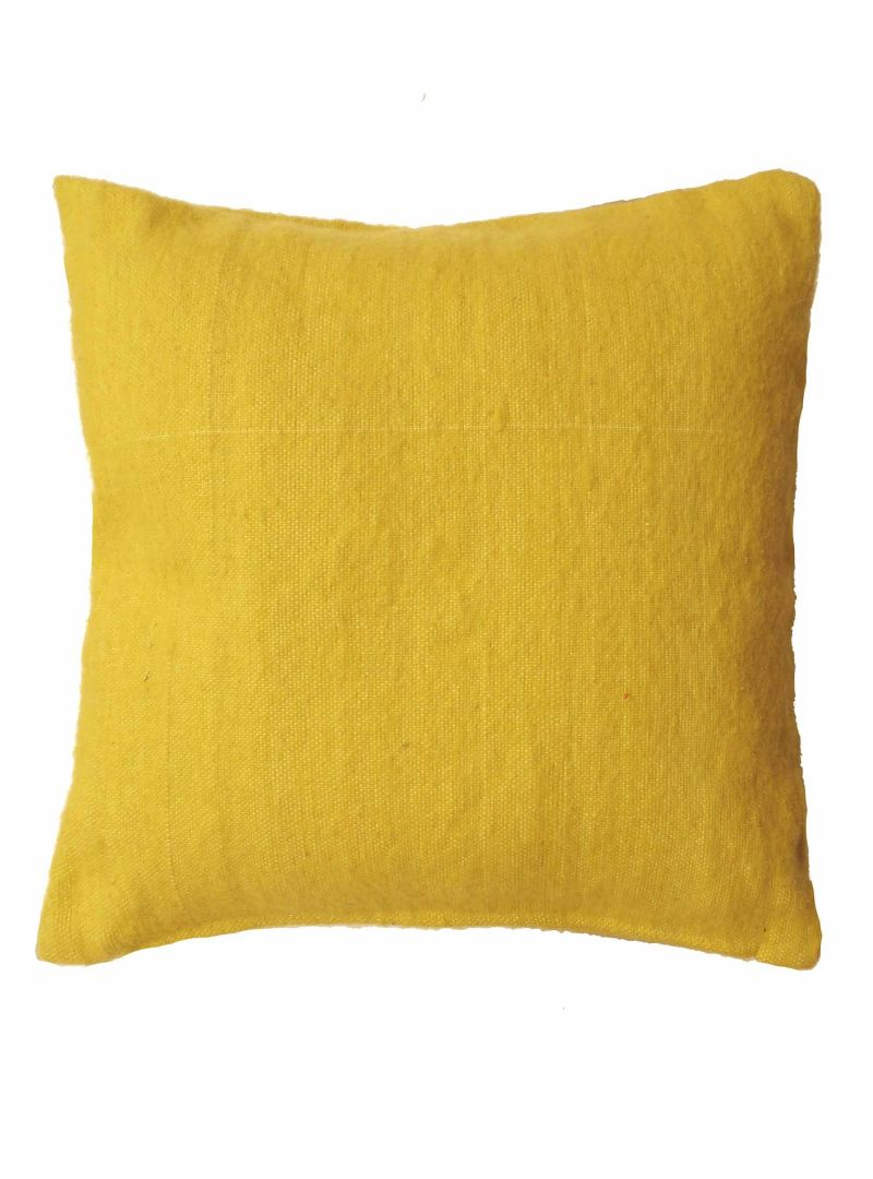 Handwoven yellow cushioncover, 50x50 cm