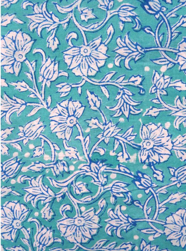 Turquoise fabric with Indian flower pattern