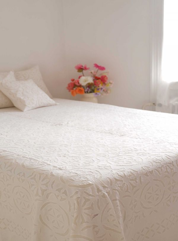 Cotton and Kantha bedspread