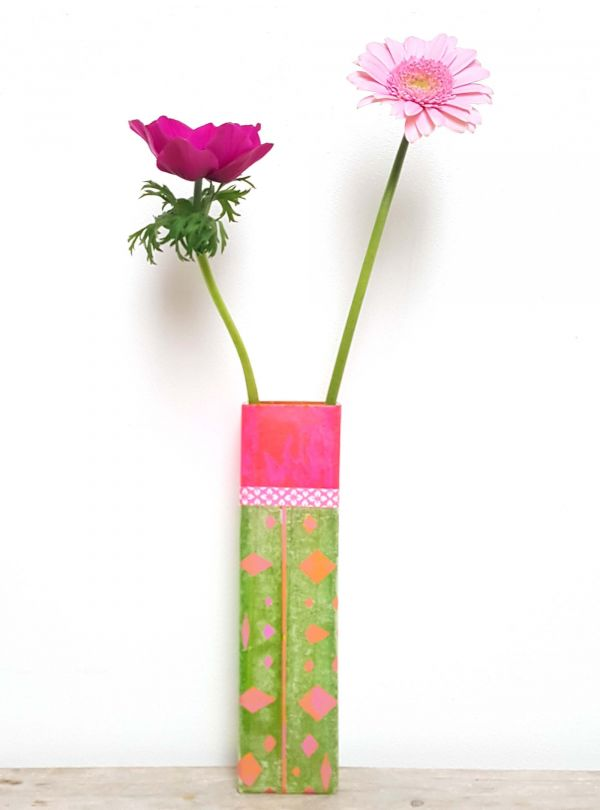 SOLD Colorful flower vase